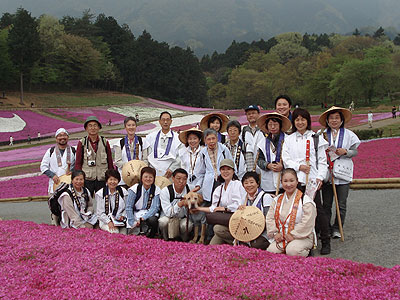 芝桜の丘で記念撮影です。